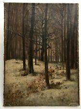 Tableau ancien signé Lavieille daté 1866, Huile sur toile, Forêt enneigée, XIXe