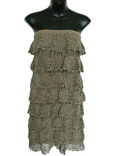 RENDEZ-VOUS By PAUL & JOE SISTER Dress Crochet Ruffles Olive Size S