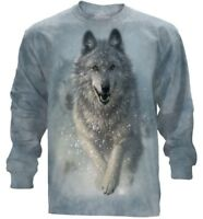 Snow Plow Long Sleeve  T-Shirt by The Mountain. Wolf in Snow Tee  S-2XL NEW