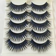 Women False Fake Eyelashes Black Blue Thick Cross Long Eye Lash Extensions