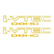 [#82] 2x Yellow i-VTEC DOHC Vinyl Decal Stickers Emblem Honda Acura ivtec