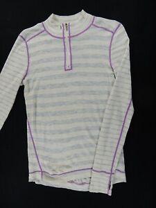 Akini 100% Wool Striped 1/4 Zip Pullover Base Layer (Womens Large) Tan