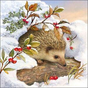 4 individual hedgehog in snow decoupage napkins, mixed media, scrapbooking,