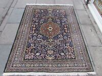 Fine Vintage Hand Made Traditional Rug Oriental Wool Blue Green Rug 185x145cm