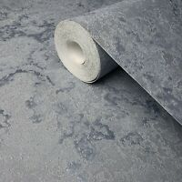 Wallpaper Silver Blue metallic textured modern plain faux plaster textures rolls