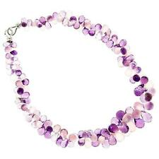 Vintage 452.00ct Amethyst Rose Quartz Briolette 16 Inch Necklace 18k Catch