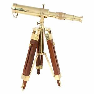 Brass Nautical Vintage Marine Telescope With Wooden Stand For Home Decoration