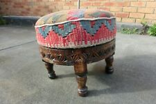 Handmade rare killim Footstool Antique style, Foot stool, ottoman or pouf
