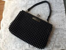 Black Beaded Vintage Clutch Purse