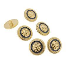 6 x dark navy blue gold tone lion face designer style shank buttons design 22mm