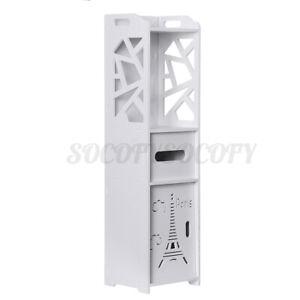 White Bathroom Floor Corner Cabinet Toilet Paper Storage Holder Organize