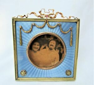 AUTHENTIC CARL FABERGE IMPERIAL RUSSIAN SILVER ENAMEL PICTURE FRAME