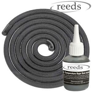 6mm Black Stove Rope 2m Length & Glue Kit Log Burner Door Seal Kit Reeds