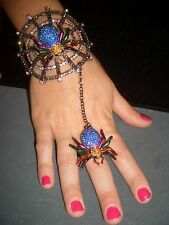 Aurora Borealis Sapphire Rhinestone Spider Slave Bracelet with Ring Bangle Cuff