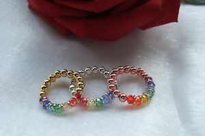 PRETTY BIJOUX CHAKRA RAINBOW STRETCH RING SILVER, GOLD OR ROSE GOLD PLATED