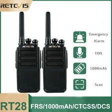 Retevis Rt28 Frs Long Range Two Way Radio Vox 1000mAh 2W Walkie Talkies(2Pcs)
