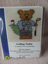 MOUSELOFT STITCHLETS CROSS STITCH KIT ~ GOLFING TEDDY ~ NEW