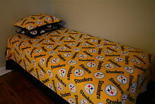 1-PITTSBURGH STEELERS X LONG SINGLE BED COVER GOLD PRINTED FLLECE-BLACK BORDER