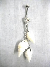 NEW 3 WHITE SEA SHELLS DANGLING CHAIN REAL WHOLE SHELL 14g CLEAR CZ BELLY RING