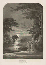 Sunset Landscape Poem Verse Fashion Antique Art Print