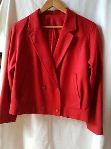 ALEXON Pillar Box Red Fine Wool Short Jacket Size 14