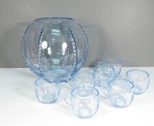 NEW MARTINSVILLE PUNCH BOWL AND CUPS RADIANCE ICE BLUE ANTIQUE ELEGANT GLASS