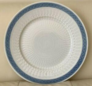 "Royal Copenhagen Denmark Blue Fan Round Platter Chop Plate 14 3/8"""
