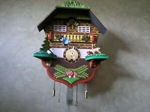 Colorful Small Cuckoo Clock w Key Girl on a Swing Pendulum Linden Germany New