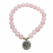 US SELLER Rose Quartz Bracelet Lotus Charm 8mm Natural Stones Healing Meditation