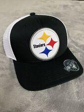 PITTSBURGH STEELERS Helmet Logo Mid-Crown Black & White Mesh Trucker Hat Cap NEW