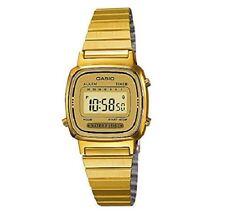 Reloj Digital Casio Para Damas Esfera De Color Negro Chapado en Oro