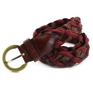 Men Braided Round Buckle Skinny Belt Faux Leather Adjustable Jeans Waistband