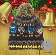 New Jingle Bells Batman Joker Robin Pom Cap Ugly Sweater Winter Hat Beanie