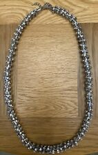 SILVER DIAMANTE ROPE NECKLACE 30 INCH SPARKLY FASHION CELEB SUMMER EVENING GLAM