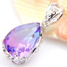 Wedding Gift Rainbow Bi-Colored Tourmaline Gemstone Silver Necklace Pendants