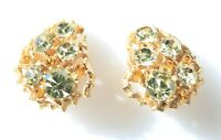 CLIP ON EARRINGS vintage gold tone with crystals signed WEISS