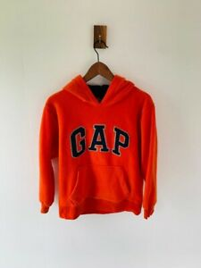 Gap Spell Out Orange Fleece Pullover Hoodie Kids Size XL (12-13)