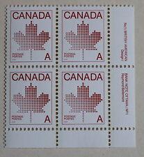 "Canada Postage 1981 ""A"" Maple Leaf Non-Denominated Plate Block # 907 MNH"