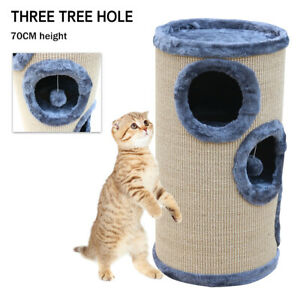 Cylinder Cats Scratching Toys Hole Climbing Jumping Cattery Cat Tree AU Seller