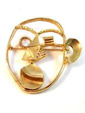 Vintage Unusual Odd Weird Machinist Gold Tone & Rhinestone Brooch
