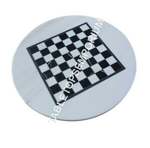 """15"""" White Round Marble Coffee Chess Center Top Table Inlay Handmade Decor H4900A"""