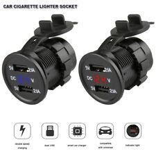 12V/24V Doppio USB PORTA ALIMENTAZIONE ACCENDISIGARI DA AUTO PRESA SPINA LED EU