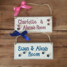 PERSONALISED CHILDRENS SHARED ROOM GIRLS/ BOYS TWINS NAME DOOR WALL SIGN PLAQUE