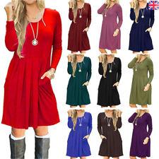 Ladies Womens Frankie Swing Dress Flared Skater Long Sleeve Midi Dress Plus size