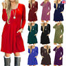 Ladies Womens Frankie Swing Dress Flared Skater Long Sleeve Midi Dress Plus size