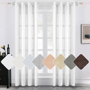 2er Set Vorhang Transparente Leinenoptik Gardine Sheer Leinen Vorhang mit Ösen