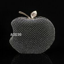 Womens Apple Shaped Clutch Bag Rhinestone Crystal Evening Handbag Chain Purse