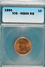1890 ICG MS65 RED BROWN Indian Head Cent!! #B2634