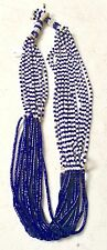 & White Multi strand # 21 African Nigerian Beaded Necklace Navy Blue