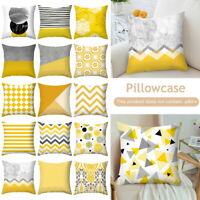 18''Yellow Geometric Cushion Cover Home Decor Sofa Throw Square Pillow Cases
